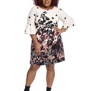new ADRIANNA PAPELL bell sleeve floral dress 22w